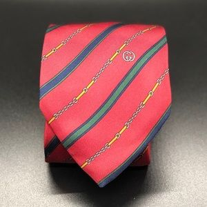 Authentic GUCCI Silk Necktie Red Vintage 80s